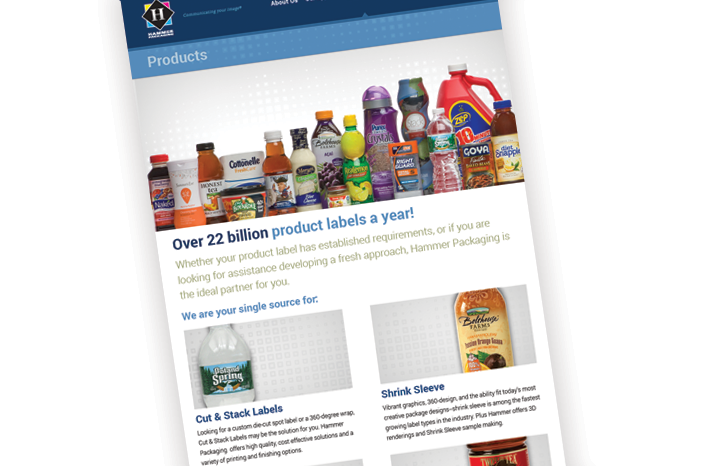 Hammer Packaging Website - Products