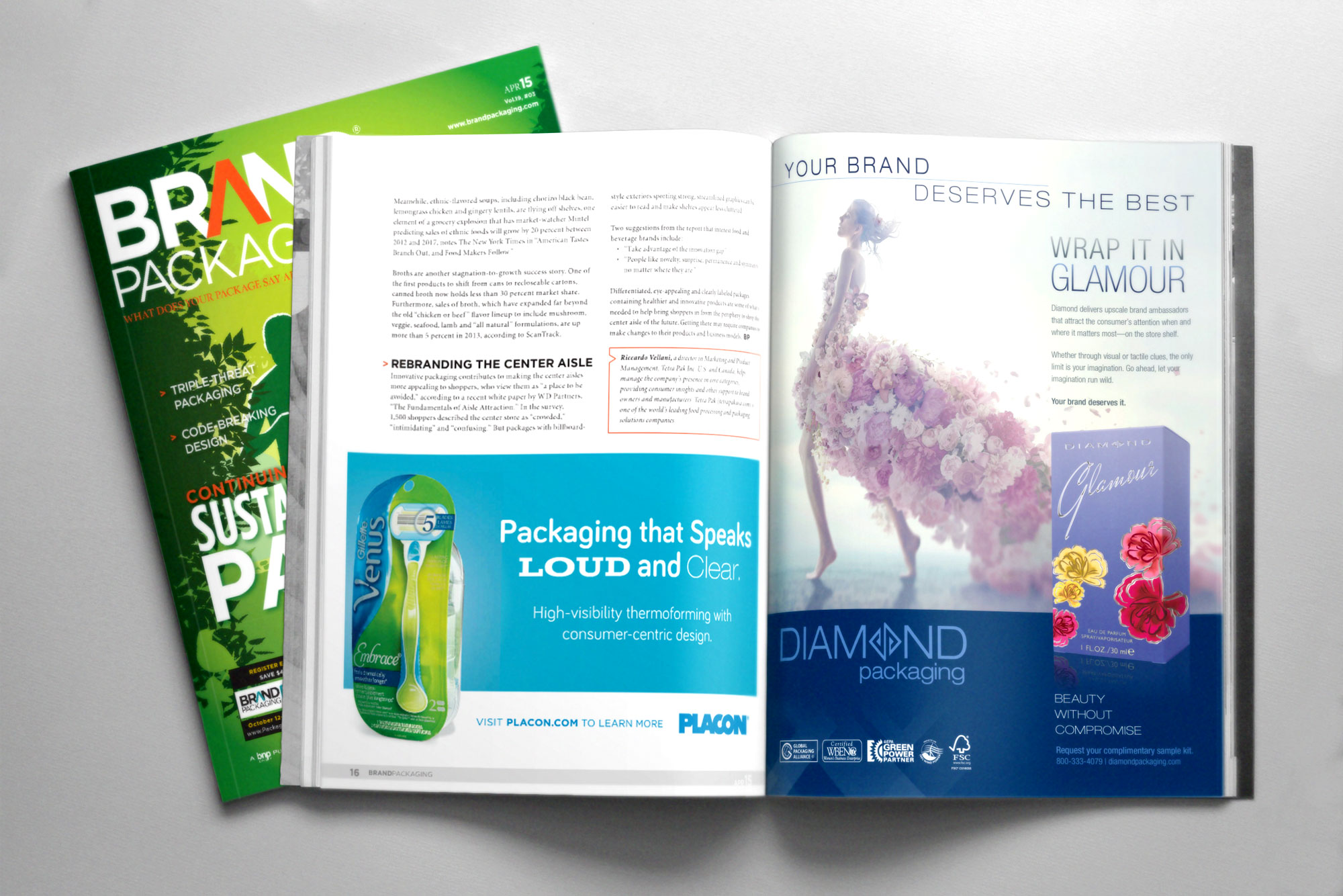 Brand Packaging Magazine Spread and Cover