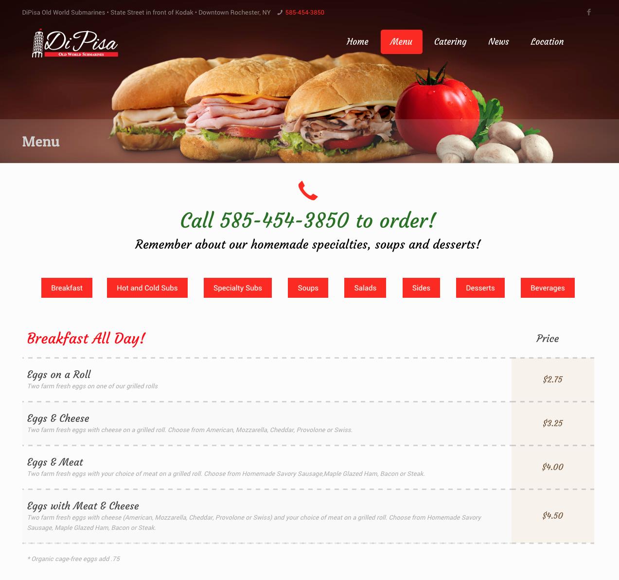 DiPisa Website Menu